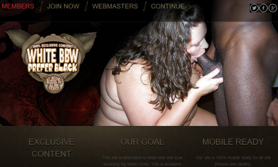 High quality pay porn site where you can watch fat girls fucked by black cocks.